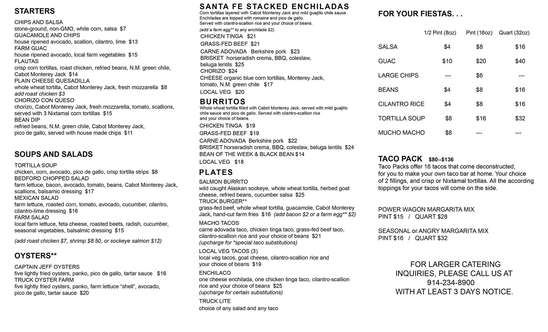 Pick up menu front page